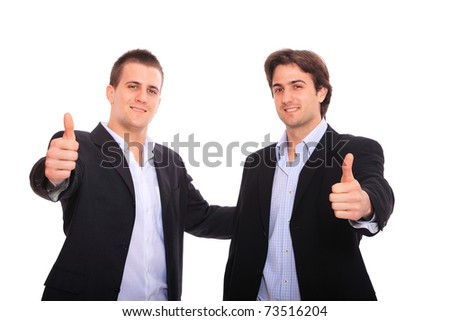 two business men portrait thumb up, isolated on white - stock photo