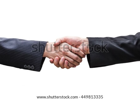 Two business men shaking hands isolated on white background.