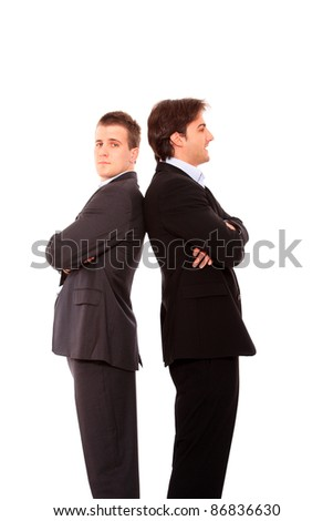 Two business men standing back to back isolated