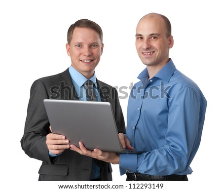 Two business men with laptop computer. Isolated on white - stock photo