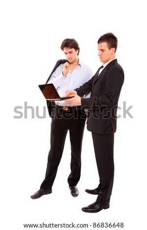Two business men with laptop isolated