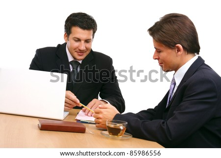 Two business partners signing contract isolated - stock photo