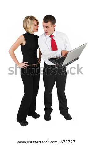 Two business partners talking, man holding laptop - stock photo
