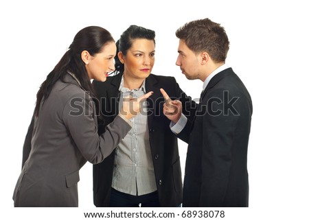 Two business people arguing and other businesswoman trying to settling the  conflict isolated on white background - stock photo