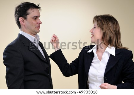 two business people communicating - stock photo