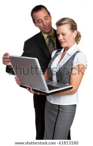 Two business people holding laptop