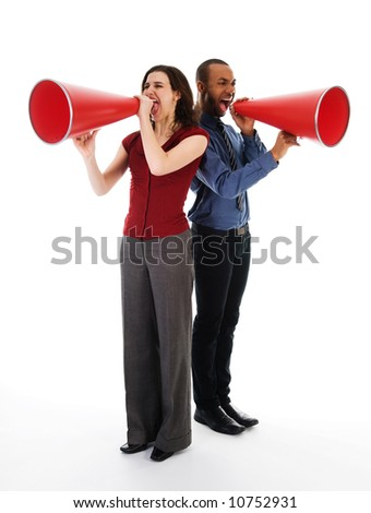 two business people on isolated white with red megaphones - stock photo