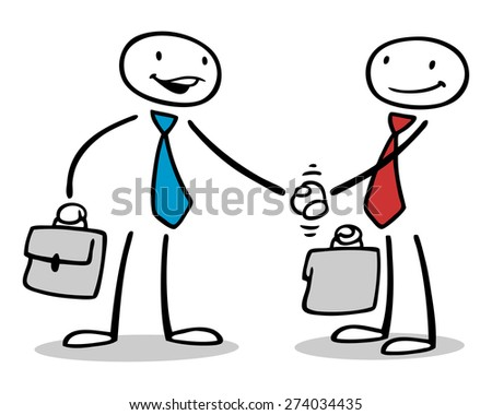 Two business people shaking hands after negotiating a deal - stock photo