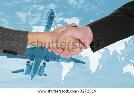 Two business people shaking hands with a airplane and world map background - stock photo