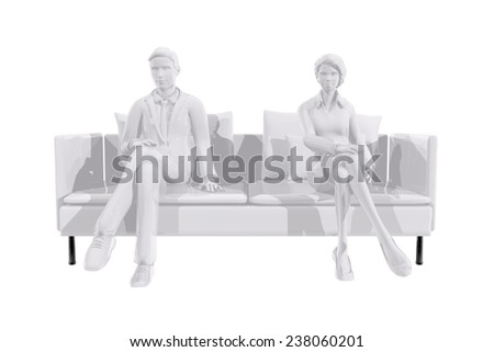 Two business people sitting on a couch - stock photo