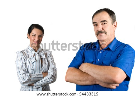 Two business people standing both with arms crossed  mature businessman in front of camera,selective focus on him isolated on white background - stock photo