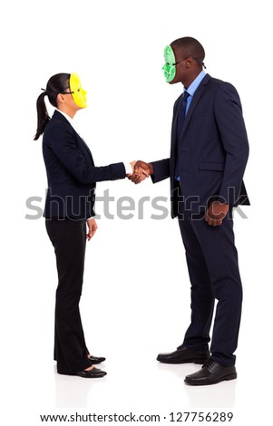 two business people with mask handshaking full length on white - stock photo