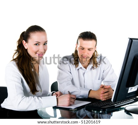 Two business people working in team. Studio shot - stock photo