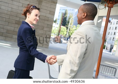 Two business professionals, man and woman, shaking hands - stock photo