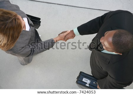 Two business professionals, man and woman, shaking hands in agreement - stock photo