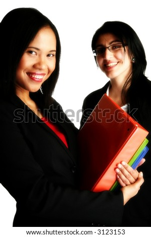 Two business woman over white with folders, smiling.