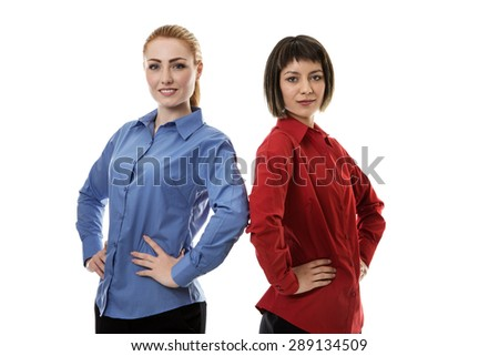 two business woman standing back to back - stock photo