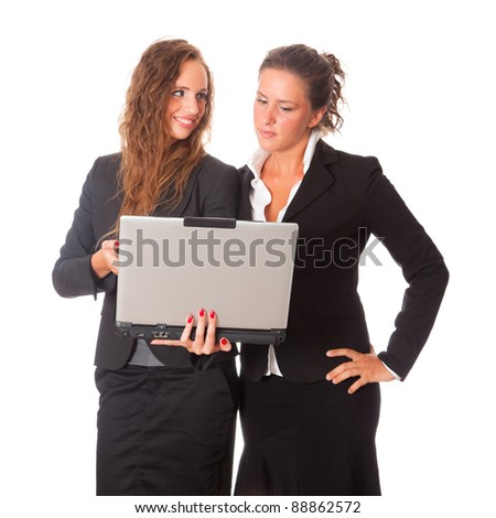 Two Business Women Looking Computer