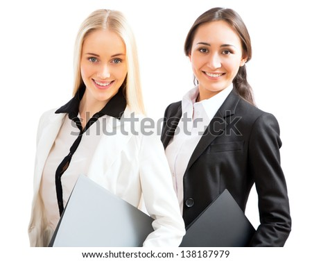 Two business women on a white background - stock photo