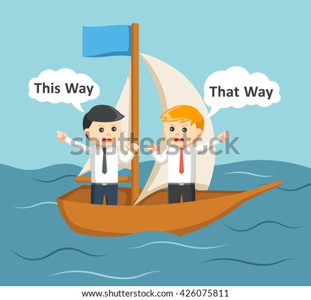 Two businessman arguing on a boat - stock photo