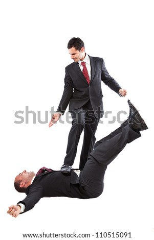 two Businessman at war isolated on a white background - stock photo