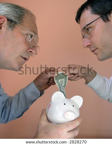 Two businessman from different generations. Conflict of powers. Confrontation. - stock photo