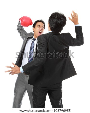 two businessman having a fight isolated on white background - stock photo