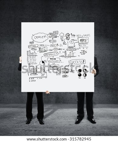 two businessman holding placard with  business plan concept - stock photo