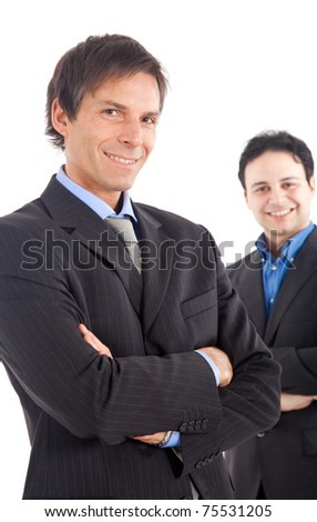 Two businessman isolated on white - stock photo