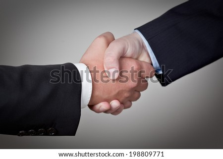 Two Businessman shake their hands on successful Deal