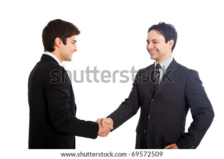 Two businessman shaking hands isolated on white