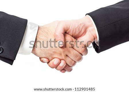 two businessman shaking hands on a white background - stock photo