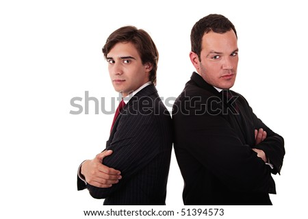two businessman standing back to back, isolated on white background - stock photo