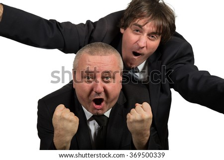 Two Businessman standing on a white background (one in on knee).