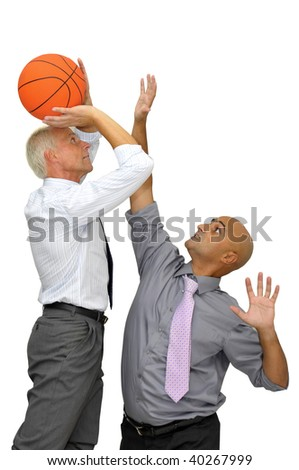 Two businessman with a basketball, playing isolated in white - stock photo