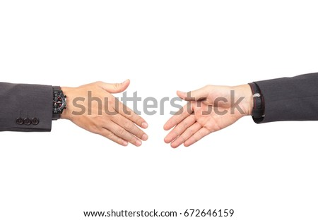 Two businessmans in suit going to make handshake and deal for their business and future success