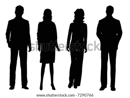 two businessmen and two businesswomen silhouettes