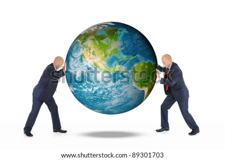 Two businessmen are holding the planet earth isolated on white background