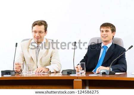 Two businessmen at a meeting - stock photo