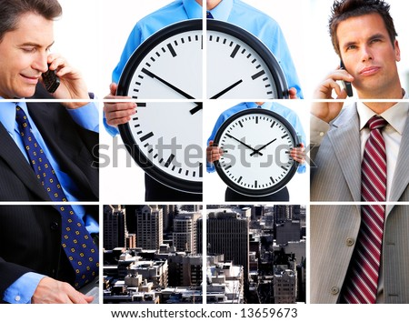 Two businessmen calling by cells. Business meeting - stock photo