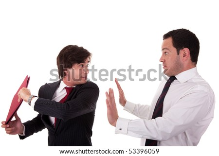 two businessmen discussing because of work, very stressed, isolated on white background. Studio shot. - stock photo