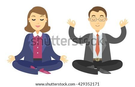 Two businessmen doing meditation. Man and woman doing yoga meditation or relaxing. - stock photo