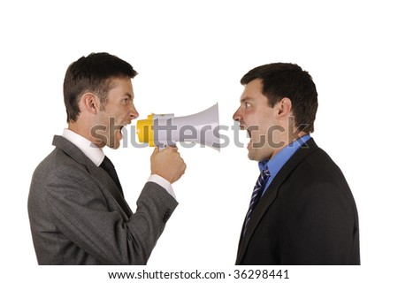 Two businessmen find out emotionally attitudes isolated on  white background