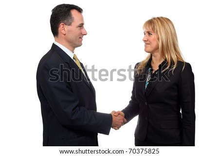 Two businessmen hands handshake isolated on white background. Studio work. - stock photo