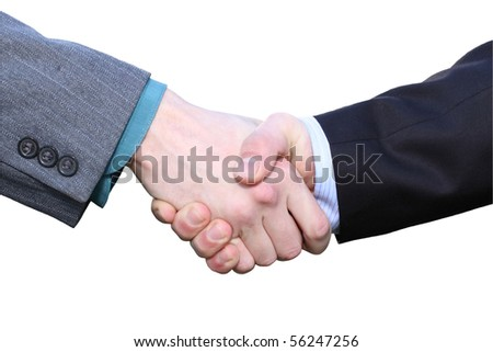 Two businessmen hands handshake isolated on white with clipping path