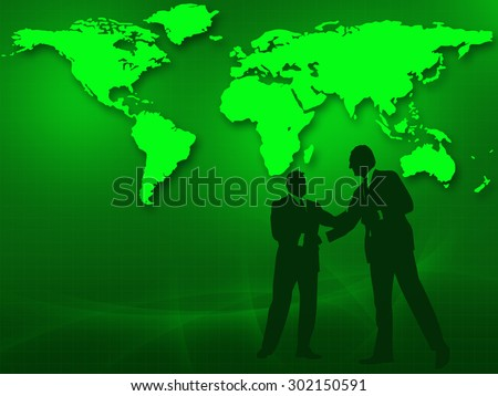 Two businessmen in a handshake in front of the world map. - stock photo
