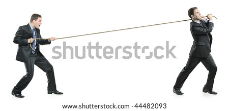 Two businessmen pulling a rope isolated on white background