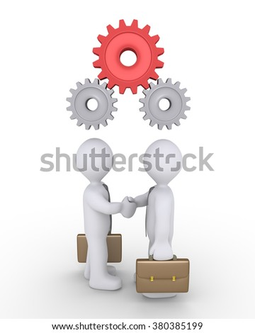Two businessmen shake hands and connected cogwheels work together above their heads