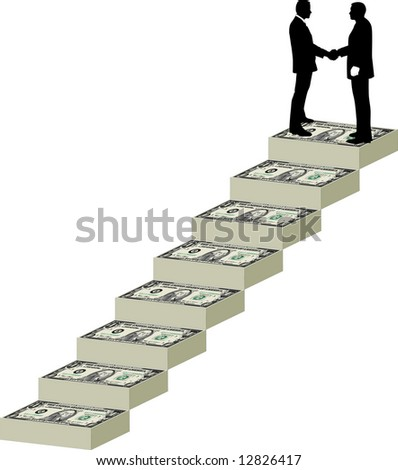 Two businessmen shake hands at the top of a staircase mane of money - stock photo