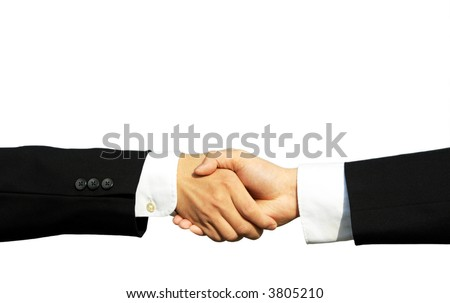 Two businessmen shaking hands in isolated white